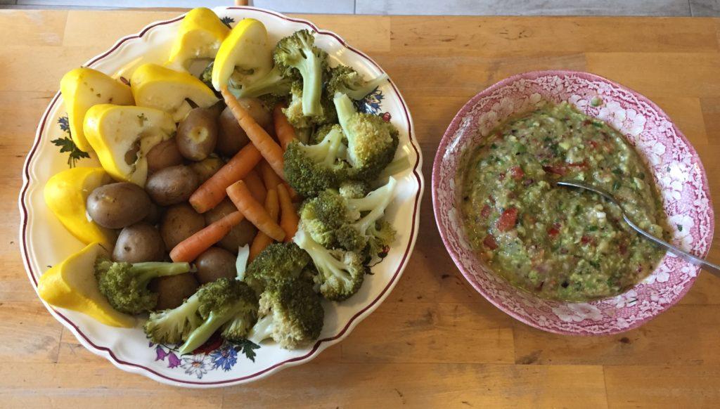 Guacamole banane et ses légumes