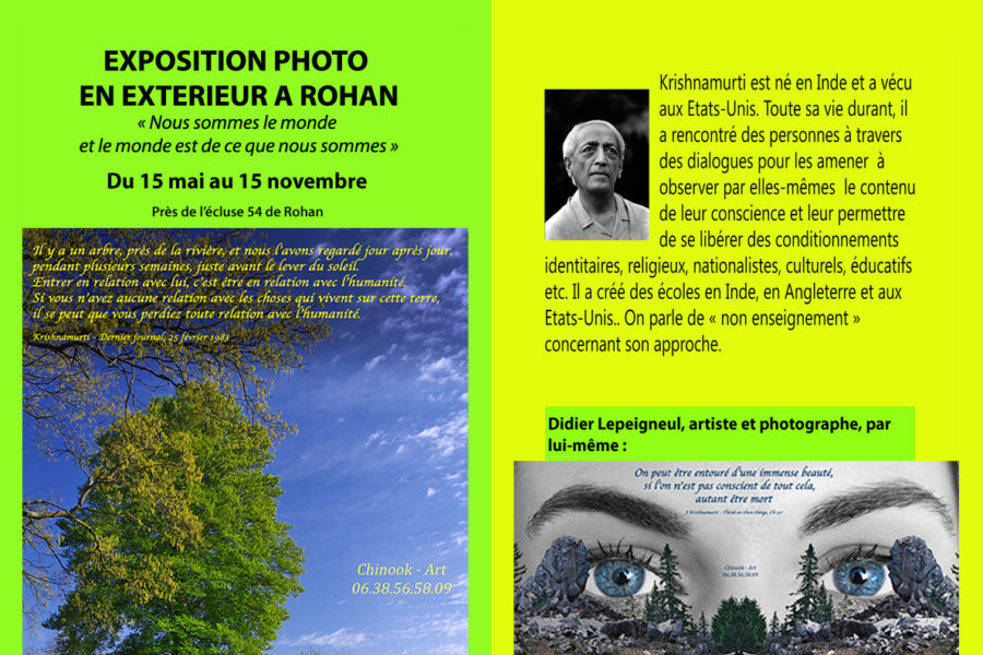 Flyer de l'exposition photo et citations de Krishnamurti