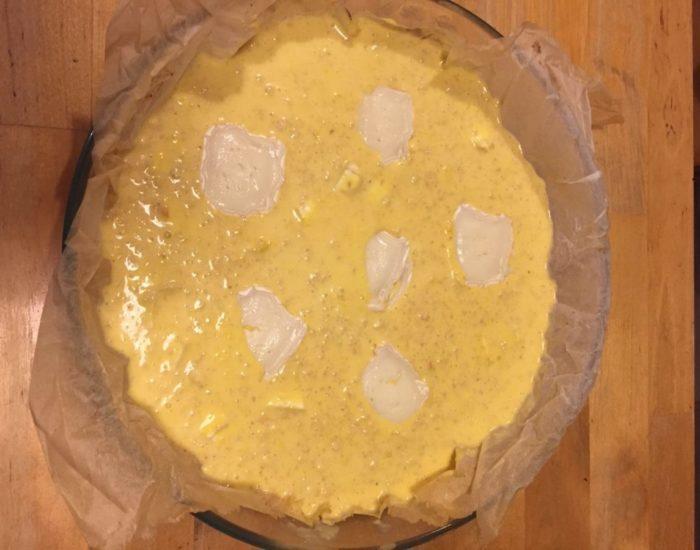 Gratin fromage de chèvre et potimaron : préparation. Table d'hôte de la Villa Tranquillité, Rohan 56