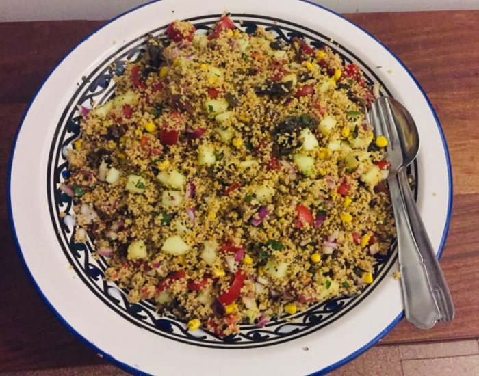 Taboulé aux algues et à l'abricot. Une recette originale et pleine de saveurs. Table d'hôte de la Villa Tranquillité, Rohan 56
