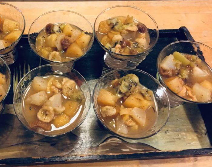 Compotée de fruits aux épices. Une recette originale et pleine de saveurs. Table d'hôte de la Villa Tranquillité, Rohan 56