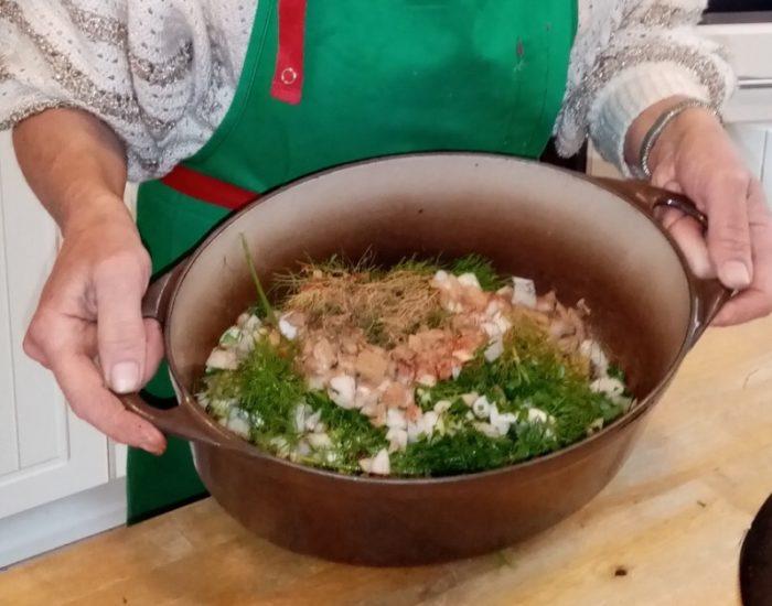 Soupe marocaine, préparatif. Table d'hôte de la Villa Tranquillité, Rohan 56